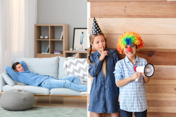 Children playing a prank on their father at home. April Fools' Day celebration