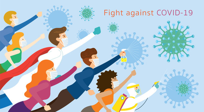 People and Doctor be Superheroes to Fight Against Covid-19, Coronavirus