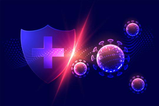 healthcare protection shield destroying corona virus concept