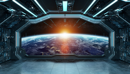 Wall Mural - Dark blue spaceship futuristic interior with window view on planet Earth 3d rendering
