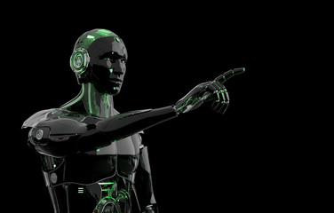 Black and green intelligent robot cyborg pointing finger on dark 3D rendering