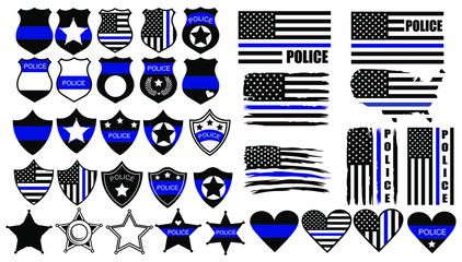 Set of cops thin blue lines. Collection of officer items badge, icon and national flag. Vector illusration of thin line for US police.