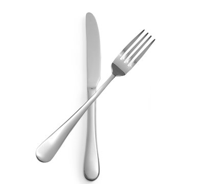 Fork and knife isolated on white background top view