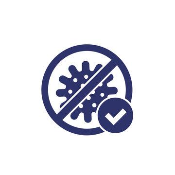 no virus, bacteria icon with check mark