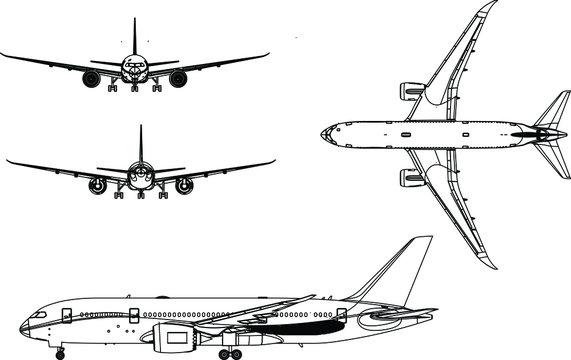 Vector. Realistic commercial airplane model isolated on white background. Front, rear, left side view.