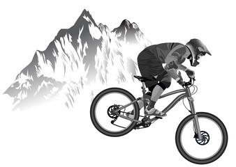 An image of a cyclist descending on a mountain bike on a slope Wall mural
