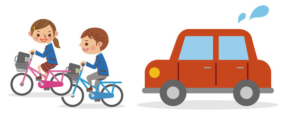 自転車で並走する男女学生と迷惑する自動車 Wall mural