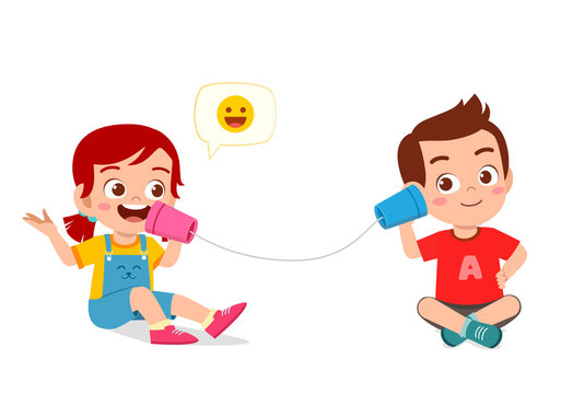 happy cute little kid boy and girl play toy phone