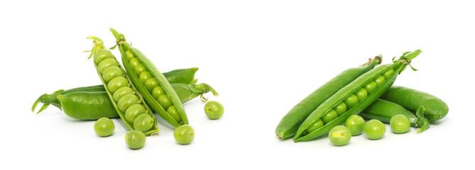 Fototapeta fresh green peas isolated on a white background obraz