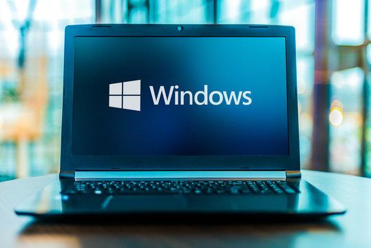 Laptop computer displaying logo of Windows