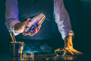 Bartender making cocktail, using cocktail shaker