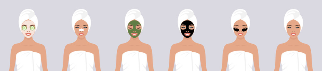 A set of six vector stock flat illustrations. A young girl wrapped in a towel, with a towel on her head, with different types of cosmetic masks on her face. The concept of self-care for the skin Wall mural