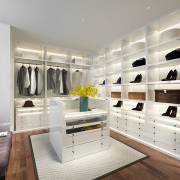 3d rendering minimal white scandinavian wood walk in closet with wardrobe
