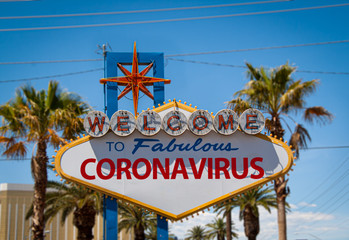 Photo sur Aluminium Las Vegas Las Vegas iconic welcome sign with coronavirus word on it, digital composite. Concept of coronavirus spreding in america and stimulus bill.