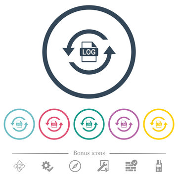 Log file rotation flat color icons in round outlines
