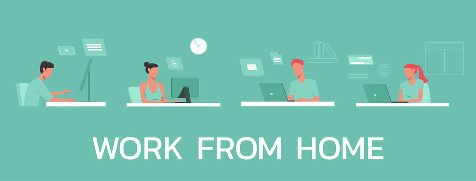 young man and woman working from home on laptops computers, co-working space and new normal concept, vector flat illustration
