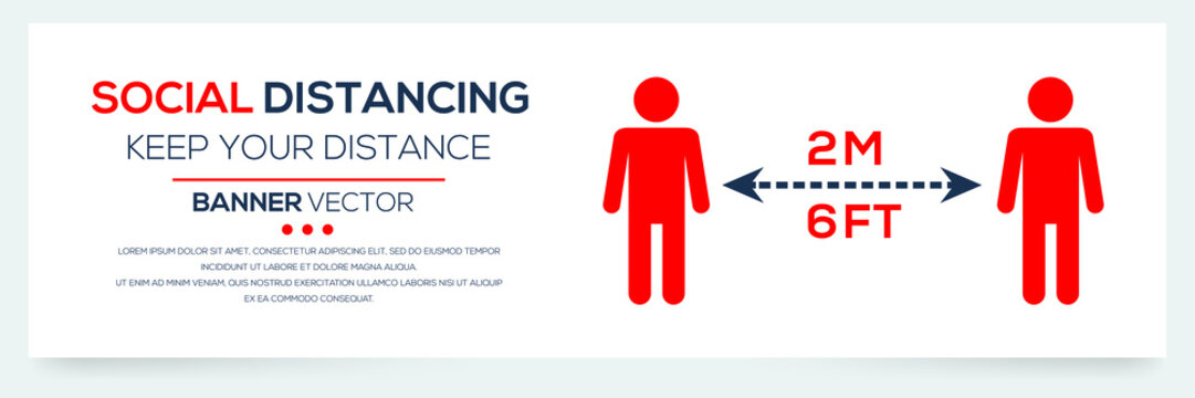 Creative (social distancing - keep your distance ) Banner Word with Icons ,Vector illustration.