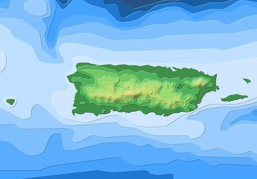 Map of Puerto Rico with illuminated terrain contours.