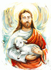 calm jesus messiah with the lamb and resurrection with nature background - illustration