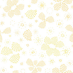 Doodle seamless abstract hand drawn fireworks pattern in oraganic floral shape. Hand painted irregular golden drops on white background. Graphic, modern design. Fireworks, new year, celebration.