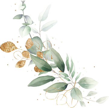 watercolor floral illustration foliage bouquet composition arrangement wreath greenery herbs round frame geometric natural gold green stationery wedding romance delicate silky