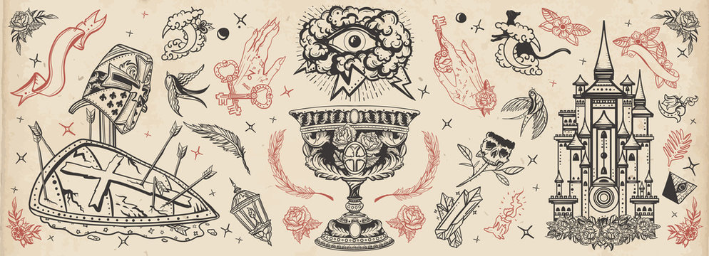Warrior crusader, sacred holy grail, ancient castle, occult hands, all seeing eye, sword and arrows. Middle age art. Traditional tattooing style. Medieval old school tattoo collection