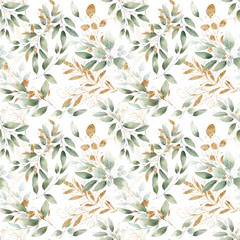seamless watercolor floral foliage pattern leaves herbs green pastel delicate branches wrapping wedding romantic natural organic nature gold texture