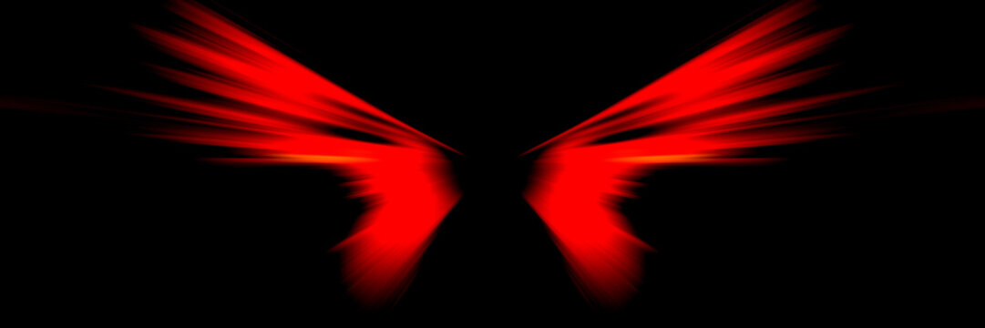 Red wings of demon on black background. Symbolic image of wings.