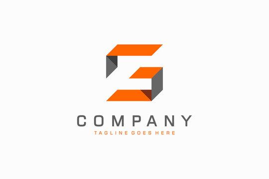 Geometric Square Ribbon Letter S and G Logo. Flat Vector Logo Design Template Element.