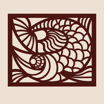 Template fish for laser cutting. Abstract stylized animal for cut. Stencil for decorative panel of wood, metal, paper. Vector illustration