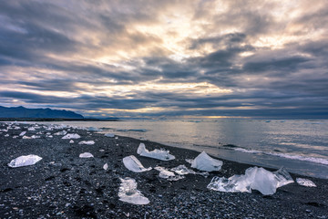 Diamond Beach at Jökulsarlon Glaciar Lagoon, Vatnakökull National Park, Sudurland, Iceland