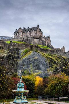 View of Edinburgh Castle from PrincesStreet Gardens