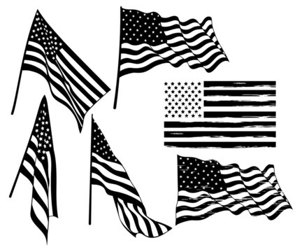 Set of flags of the United States of America. Collection of waving flag silhouettes in the wind. Set of independence symbol USA. Vector illustration for american holidays.