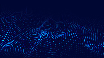Vector abstract blue futuristic background. Big data visualization. Digital dynamic wave of particles. Wall mural