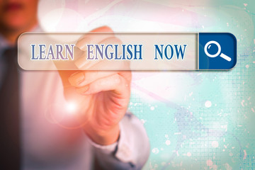 Word writing text Learn English Now. Business photo showcasing gain or acquire knowledge and skill...