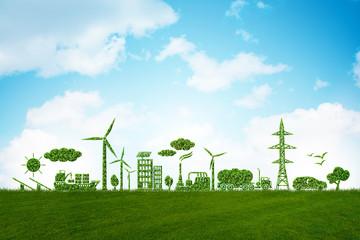 Fototapeta Environment and ecology in green concept - 3d illustration obraz
