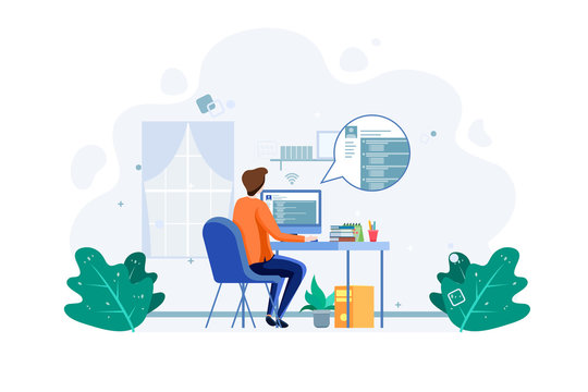 Student do online examination, e-learning concept. Business worker work from home. Male with computer illustration concept. Vector
