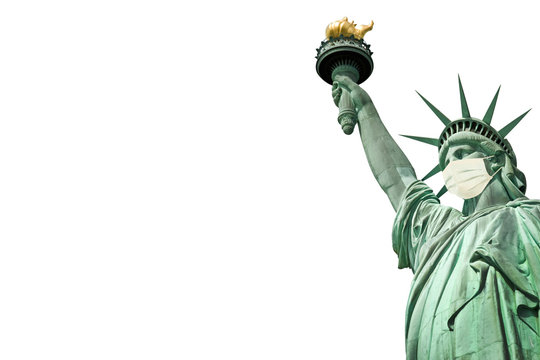 Statue of Liberty wearing a medical face mask isolated on white background. New coronavirus, covid-19 in New York and USA epidemic crisis concept
