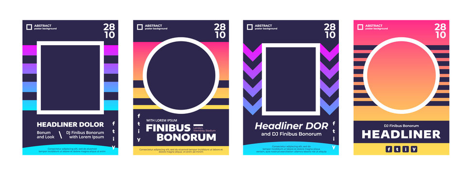 Music poster template with place for photo or picture. Event flyer collection for summer night party or fest. Abstract creative banners with geometric elements in flat style.
