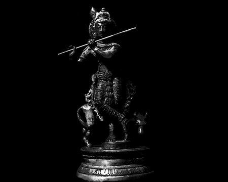 Isolated Black Background Krishna