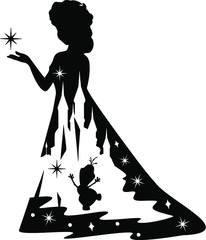 silhouette of a girl with umbrella, a girl,