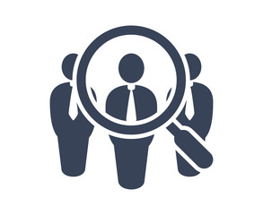 Search job vacancy icon in flat style. Loupe career vector illustration on white isolated background. Find people