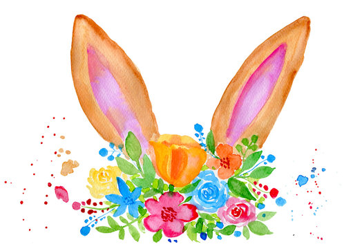 Watercolor Easter bunny ears with flowers isolated on white background. Hand painted animal illustration for spring and summer design.