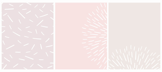 Cute Seamless Geometric Vector Pattern and Layouts. White Free Hand Lines Isolated on a Light Pink and Beige Background. Simple Abstract Vector Prints Ideal for Layout, Cover.