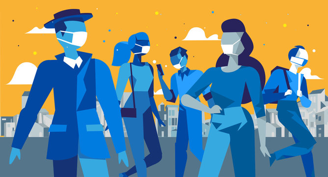 Persone in città che indossano maschere mediche per la protezione da inquinamento, infezione. Diffusione dell'epidemia di virus e la pandemia nel mondo. Concetto per la quarantena