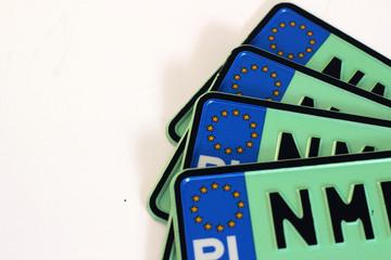 Polska tablica rejestracyjna, zielona, ekologiczna - samochody elektryczne Fotoväggar