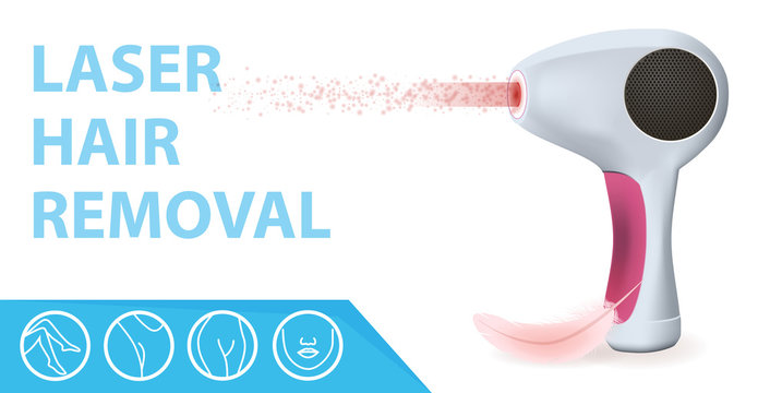 Modern Laser Epilator with Light Ray, Feather and Icons with Areas for Epilation. Hair Removal Beauty Skin Care Technology Equipment, Tool for Home Procedure. 3D Vector Realistic Illustration, Banner