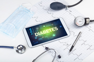 Tuinposter Europa Tablet pc and medical stuff with DIABETES inscription, prevention concept