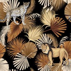Vintage tropical palm leaves, leopard, lion animal floral seamless pattern black background. Exotic jungle wallpaper.