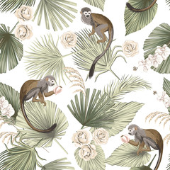 Tropical animal monkey, floral green palm leaves, orchid rose flower seamless pattern white background. Exotic jungle wallpaper.